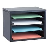 Adiroffice Black Wood Desk Organizer Workspace Organizers Removable Shelves 11 X 14 X 9.8 (502-01