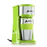 Adirchef Grab N Go Ruby Sour Green Personal Coffee Maker With 15 Oz. Travel Mug (800-01-SGR)