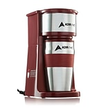 Adirchef Grab N Go Ruby Red Personal Coffee Maker With 15 Oz. Travel Mug (800-01-RR)