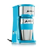Adirchef Grab N Go Crystal Blue Personal Coffee Maker With 15 Oz. Travel Mug (800-01-CRB)