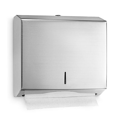 Alpine Industries C-Fold/Multifold Paper Towel Dispenser, Stainless Steel Brushed 10.2 H 11.2 W 4 D (481)