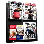 Adiroffice Acrylic Black Wall Mounted Hanging Magazine Rack Newspaper & Brochure Holder 20 X 23
