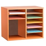 Adiroffice Wood Orange Adjustable 9 Compartment Literature Organizer (500-12-ORG)