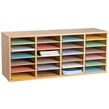Adiroffice Wood Oak Adjustable 24 Compartment Literature Organizer (500-24-MEO)