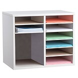 Adiroffice Wood White Adjustable 9 Compartment Literature Organizer (500-12-WHI)