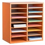 Adiroffice Wood Orange Adjustable 16 Compartment Literature Organizer (500-16-ORG)