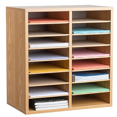 Adiroffice Wood Medium Oak Adjustable 16 Compartment Literature Organizer (500-16-MEO)