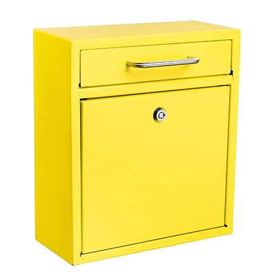 Adiroffice Ultimate Wall Mounted Yellow Steel Medium Mail Box H 12 W 10.4 D 4.5 (631-05-YLWER)