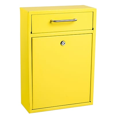 Adiroffice Ultimate Wall Mounted Large Yellow Steel Mail Box H 16.2 W 11.2 D 4.7 (631-04-YLE)