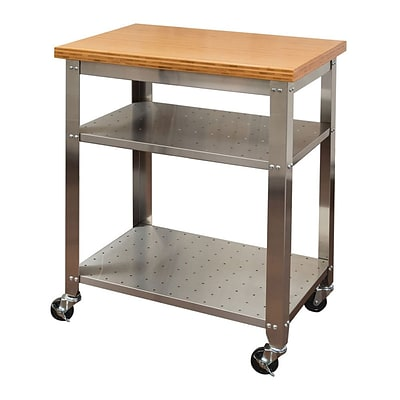 Seville Classics Stainless Steel Kitchen Work Table Cart with Bamboo Top (WEB292)
