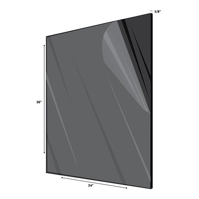 Adiroffice Acrylic Black Water Resistant & Weatherproof Plexiglass Sheet 24''X36 1/8 Thick (2436-1-B)