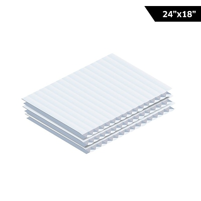 Adiroffice White Corrugated Plastic Sheets Sign Blanks Short-Flute 0.15 Thick 18X24 48 Pack (CS2418-48-W)