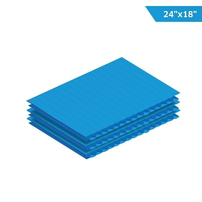 Adiroffice Blue Corrugated Plastic Sheets  0.15 Thick - 18X24 48 Pack (CS2418-48-BL)