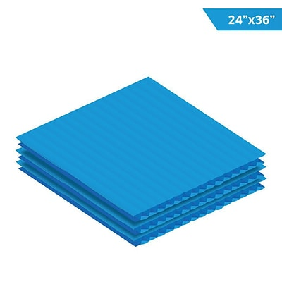Adiroffice Blue Corrugated Plastic Sheets 0.15 Thick - 24X 36 12 Pack (CS2436-12-BL)