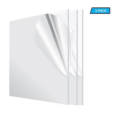 Adiroffice Acrylic Clear Water Resistant & Weatherproof Plexiglass Sheet 12''X 12 1/8 Thick 3 Pack (1212-3-C)