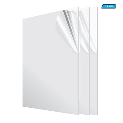 Adiroffice Acrylic Clear Durable Water Resistant And Weatherproof Plexiglass Sheet 24''X 48'' 1/8 3 Pack (2448-3-C)