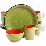 Gibson Color Fling 12 pc Dinnerware Set - Green/Red - Hand Painted - Stoneware (94714.12)