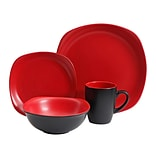 Gibson Tristen 16-Piece Dinnerware Set, Red/Black (116420.16)