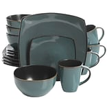 Gibson Soho Lounge 16-Piece Soft Square Dinnerware Set, Teal Green (116355.16)