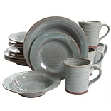 Gibson Mariani 16 pc Double Reactive with Raw Edge Dinnerware Set , Teal (94866.16)
