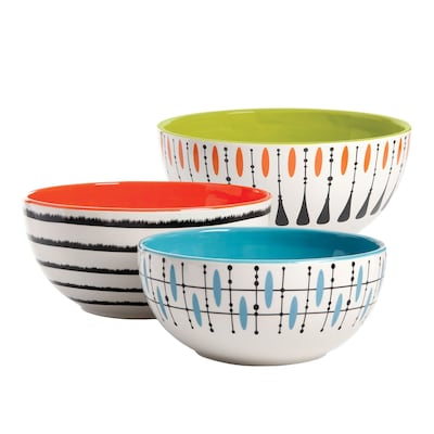 Gibson Studio California Luminescent 3-Piece Mixing Bowl Set, Mixed Colors (113195.03)