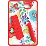 Studio California Jordana 6 Nakiri W/Sheath and Cutting Board, Red Floral Pattern (112064.03)
