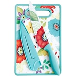 Studio California Jordana 8 Chef Knife W/Sheath & Cutting Board, Turquoise Floral Pattern (112065.0