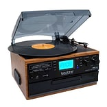 Boytone Bluetooth IN & OUT Classic Style Record Player Turntable with AM/FM Radio, Cassette Player (