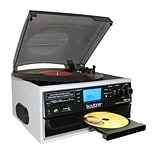Boytone Bluetooth IN & OUT Classic Style Record Player Turntable with AM/FM Radio, Cassette Player,