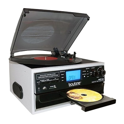 Boytone Bluetooth IN & OUT Classic Style Record Player Turntable with AM/FM Radio, Cassette Player, CD Player (935101333M)