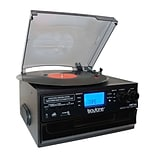 Boytone Bluetooth Classic IN & OUT Style Record Player Turntable with AM/FM Radio, Cassette Player,