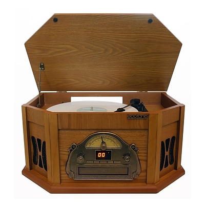 Boytone 3-Speed Stereo Turntable with AM-FM Radio in Wood finish (935101314M)