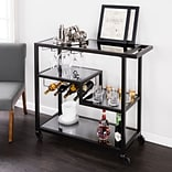Southern Enterprises Holly & Martin Zephs Bar Cart, Black & Smoked Mirror (HZ8813)