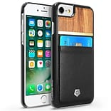 Cobble Pro Black Slim Rear Leather Card Slot Shell Wallet Case (Rose Wood Designed) for Apple iPhone