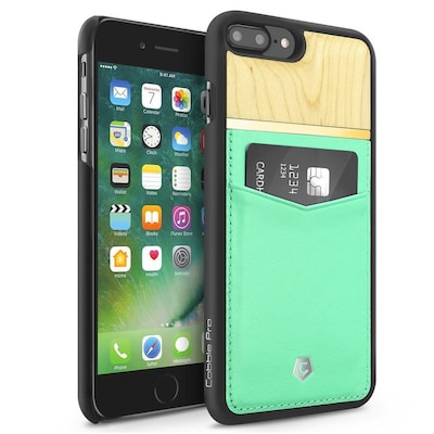 Cobble Pro Turquoise Rear Slim Genuine Leather Card Shell Case (Maple Wood Designed) for Apple iPhone 7 Plus/ 8 Plus