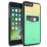 Cobble Pro Turquoise Rear Slim Genuine Leather Card Shell Case (Maple Wood Designed) for Apple iPhon