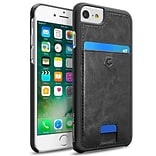 Cobble Pro Black Rear Leather Card Slot Shell Case (w/ 4-Corners Raised Lip Protection) for Apple iP