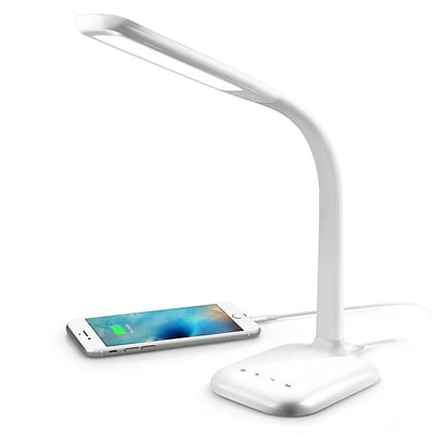 INNOKA Flexible Gooseneck USB High Bright Touch LED Panel Lamp (with Dimming / USB Charging Port) - White