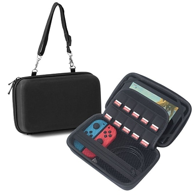 Insten Car Mounting Protective EVA Hard Pouch Travel Carrying Case with Hand Strap For Nintendo Switch - Black