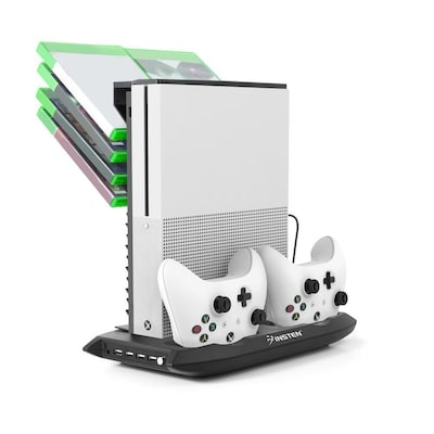 Insten Vertical Stand Dual Controller Charging Station Dock W/cooling Fan Game Holder For Microsoft Xbox One S Black