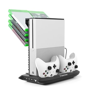Insten Vertical Stand Dual Controller Charging Station Dock w/Cooling Fan Game Holder for Microsoft Xbox One S - Black