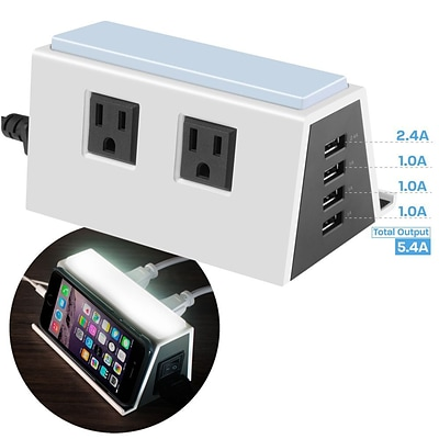 Cobble Pro 4-Port (5.4A) USB Charger Charging ports + 2 AC Outlets Surge Protector Power Strip Built-in LED Night Light