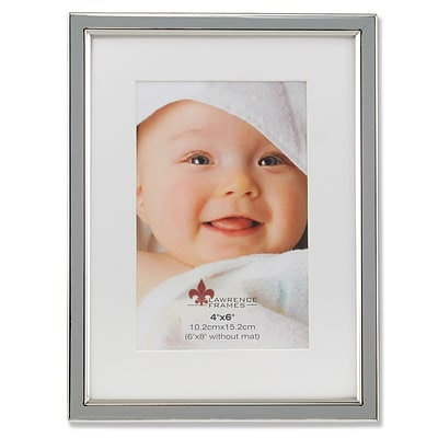 Lawrence Frames 4W x 6H Matted Gray Enamel and Silver Metal Picture Frame - 6x8 Without Mat (648046)