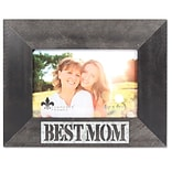 Lawrence Frames 4W x 6H Harper Wood Picture Frame with Galvanized Metal Piercing - Best Mom (70926