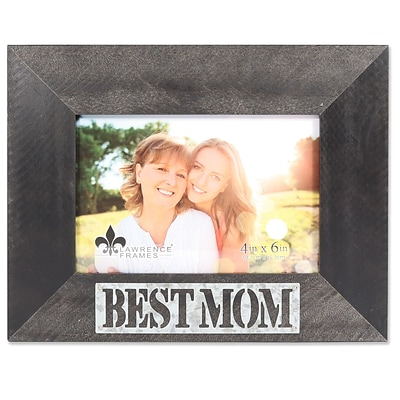 Lawrence Frames 4W x 6H Harper Wood Picture Frame with Galvanized Metal Piercing - Best Mom (709264)