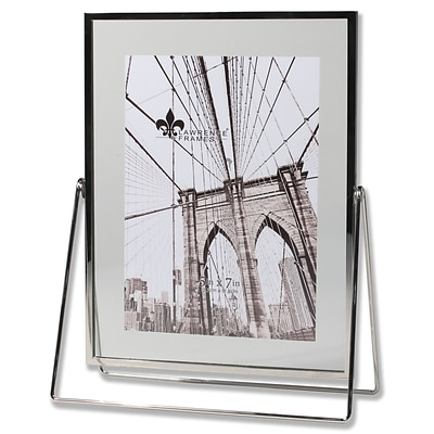 Lawrence Frames 5W x 7H Harland Silver Metal Float Frame with Metal Stand (702057)
