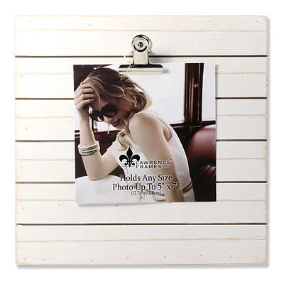 Lawrence Frames 9W x 9H Weathered White Woodlands Clip Picture Frame - Holds Up to 5W x 7H Photo (741199)