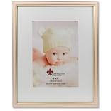 Lawrence Frames 5W x 7H Matted Pink Enamel and Satin Gold Metal Picture Frame - 8W x 10H Without