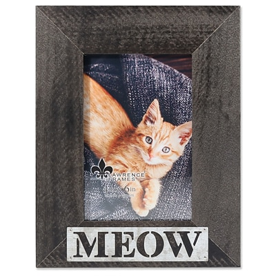 Lawrence Frames 4W x 6H Harper Wood Picture Frame with Galvanized Metal Piercing - Meow (709546)