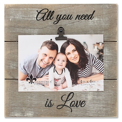 Lawrence Frames 4W x 6H Weathered Gray Woodlands Clip Picture Frame - Love (742164)
